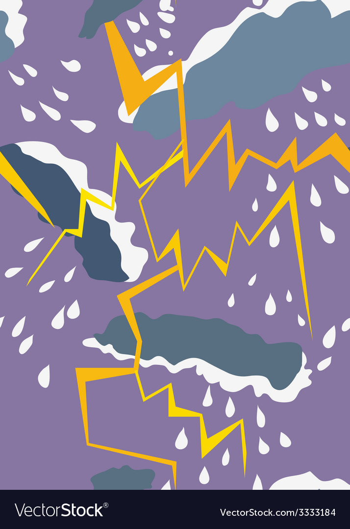 Seamless pattern with thunderstorm and rain vector | Price: 1 Credit (USD $1)