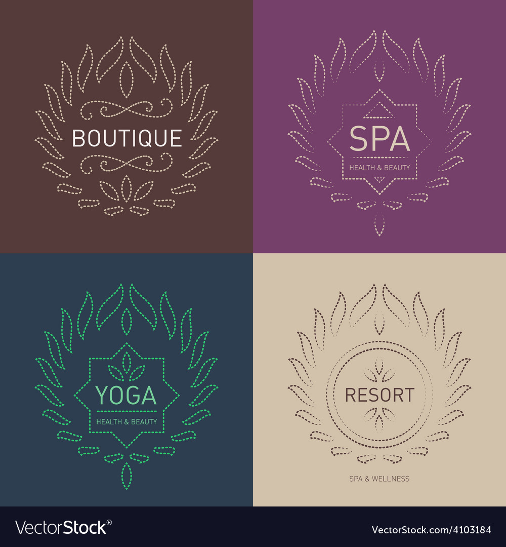Set of floral logos template for beauty salon spa vector | Price: 1 Credit (USD $1)