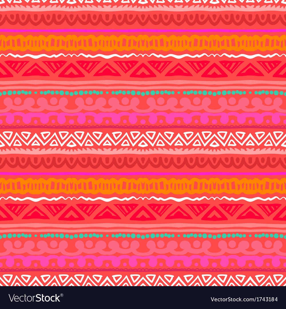 Striped ethnic pattern in vibrant red orange vector | Price: 1 Credit (USD $1)
