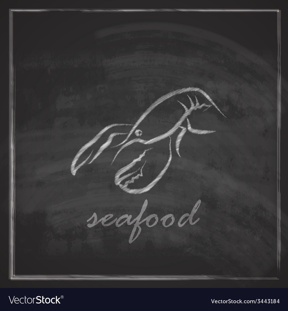 Vintage with a lobster on blackboard background vector
