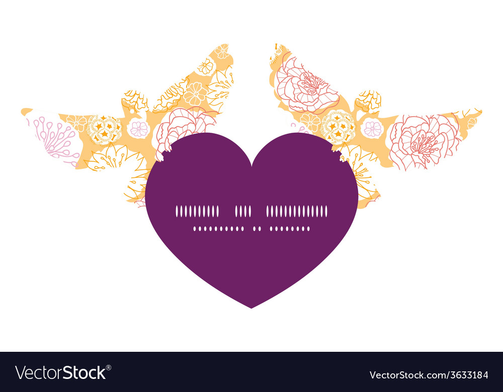 Warm day flowers birds holding heart silhouette vector   Price: 1 Credit (USD $1)