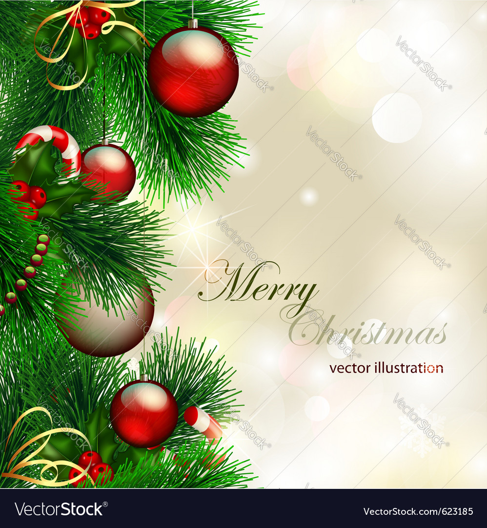 Christmas background with decorated christmas tree vector | Price: 1 Credit (USD $1)