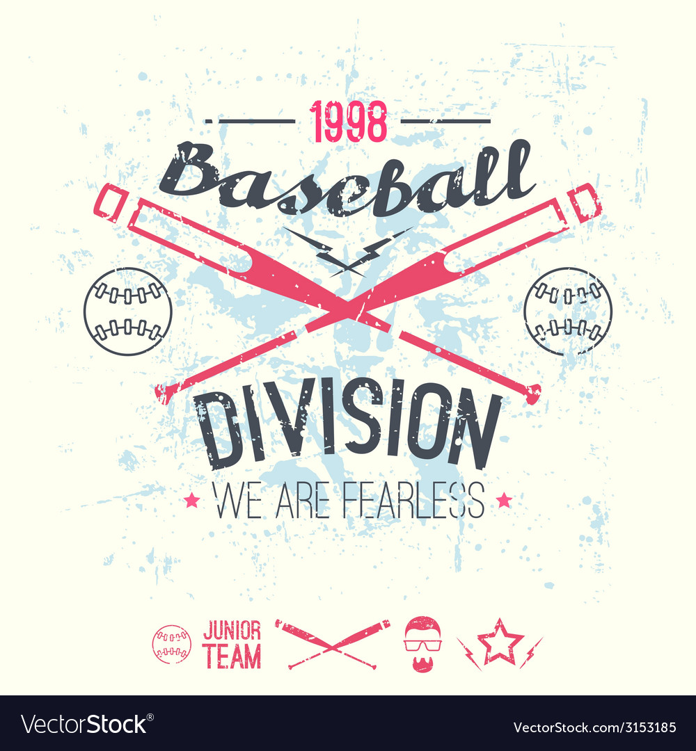 College baseball division emblem vector | Price: 1 Credit (USD $1)