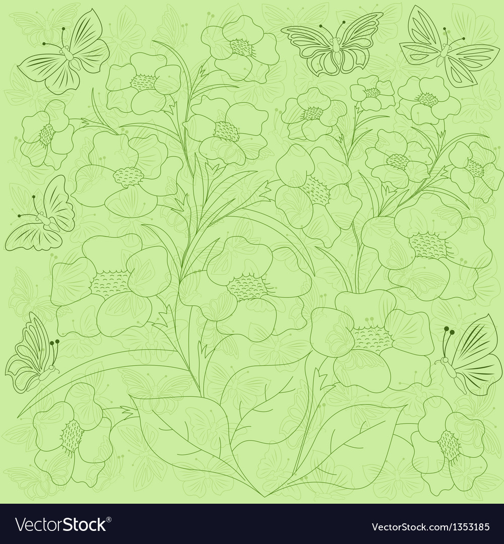 Flowers and butterflies green background vector | Price: 1 Credit (USD $1)