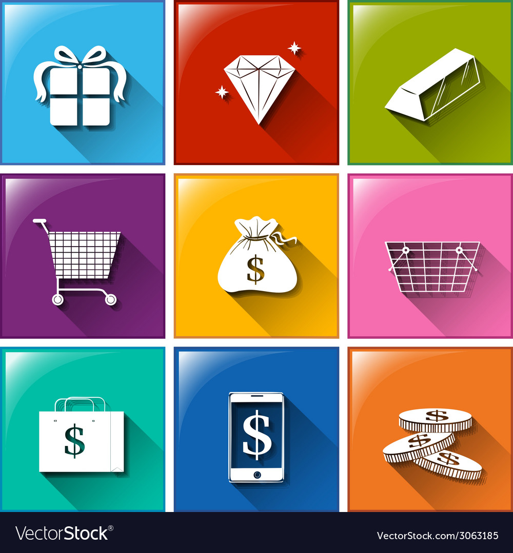 Icons with different things with monetary values vector | Price: 1 Credit (USD $1)