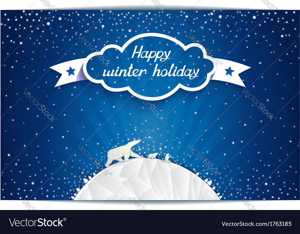 Just winter greeting card with polar bears family vector | Price: 1 Credit (USD $1)