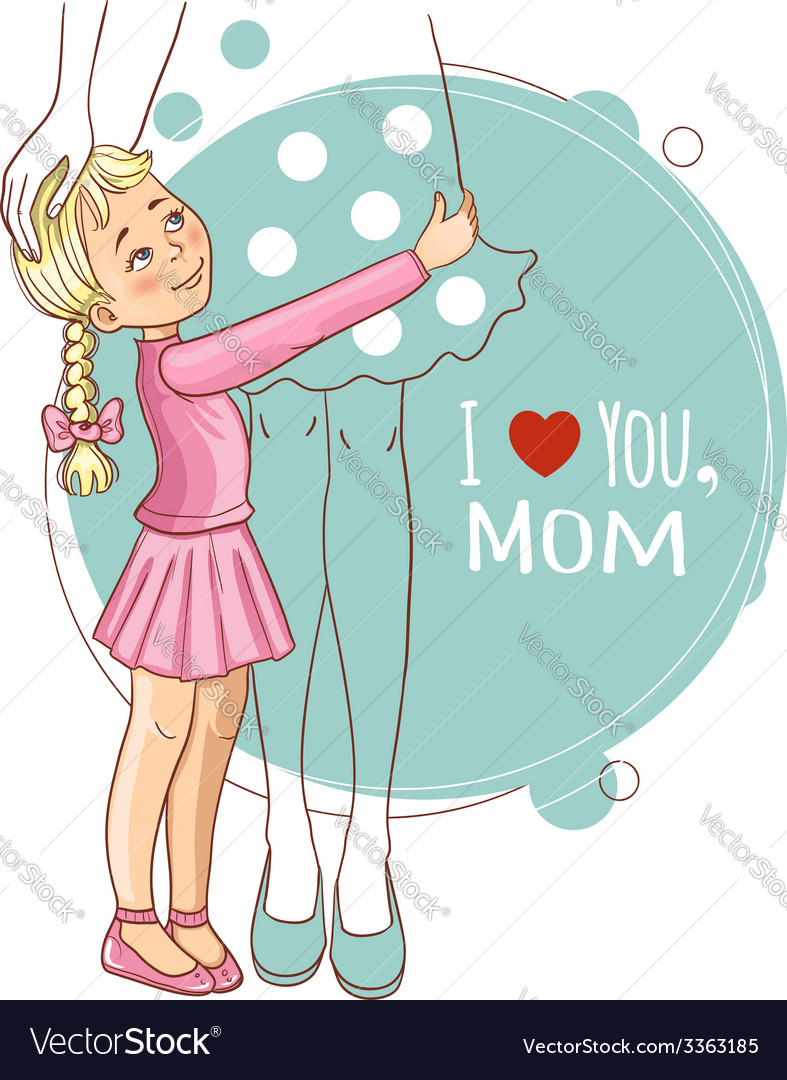 Little girl embraces her mother vector | Price: 1 Credit (USD $1)