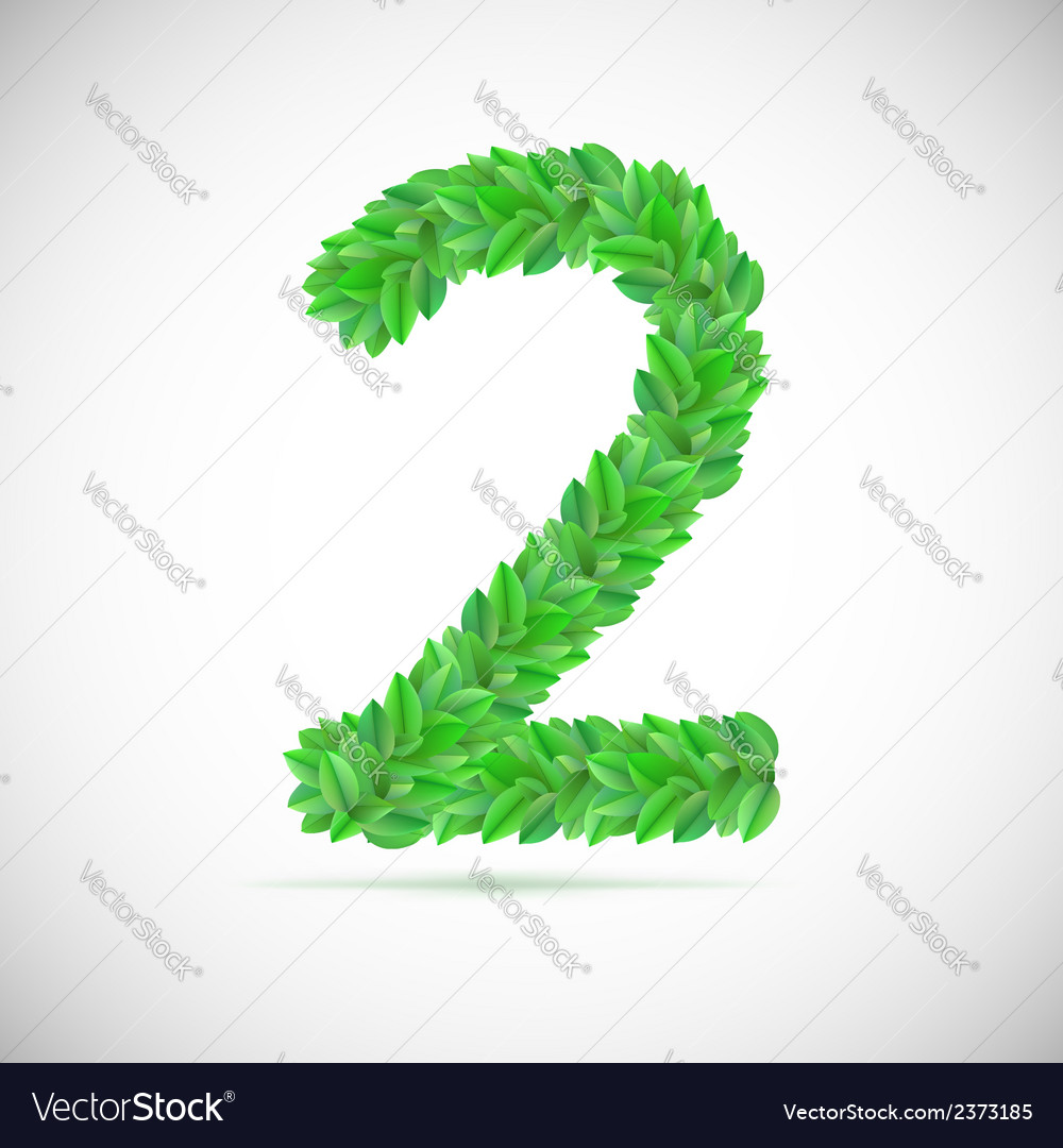 Number two made up of green leaves vector | Price: 1 Credit (USD $1)