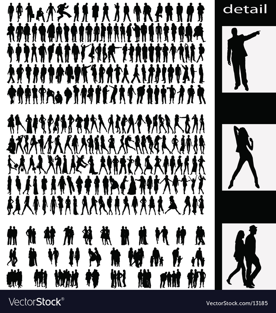 People silhouettes vector | Price:  Credit (USD $)