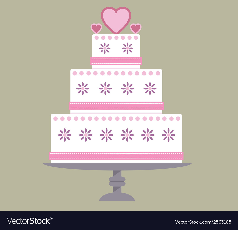 Wedding cake pink ribbon vector | Price: 1 Credit (USD $1)
