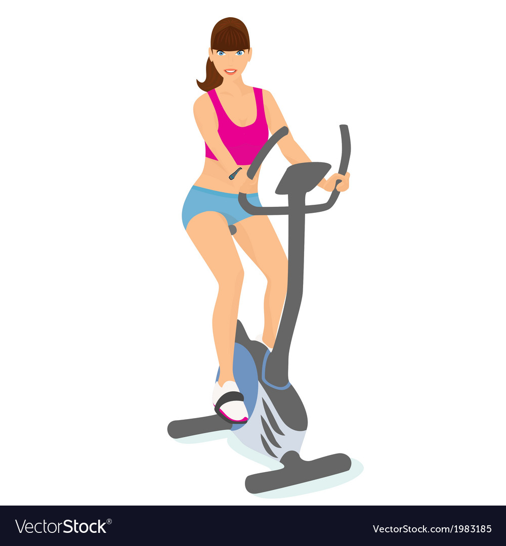 Young woman with brown hair uses a bicycle for a vector | Price: 1 Credit (USD $1)