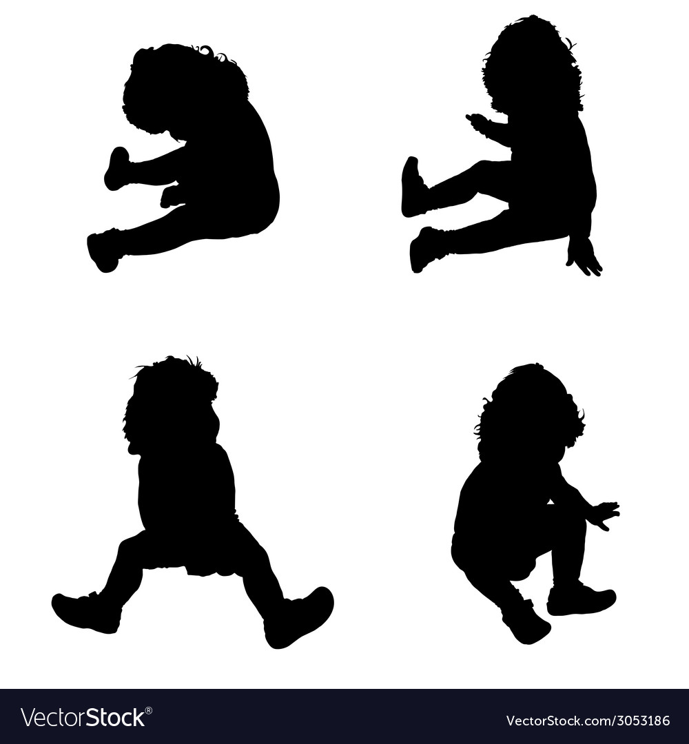 Baby in a sitting position silhouette vector | Price: 1 Credit (USD $1)
