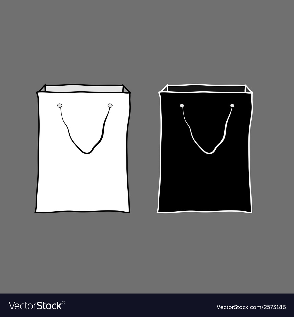 Black and white shopping bags vector | Price: 1 Credit (USD $1)