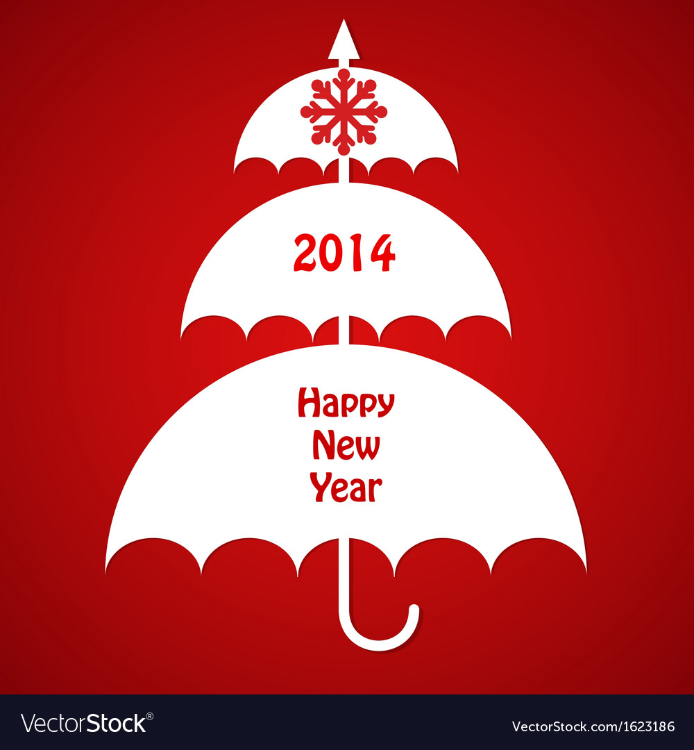 Christmas card with umbrellas vector | Price: 1 Credit (USD $1)