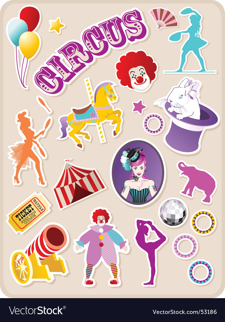 Circus stickers vector | Price: 1 Credit (USD $1)