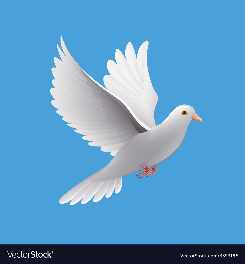 Flying dove isolated on blue vector | Price: 3 Credit (USD $3)