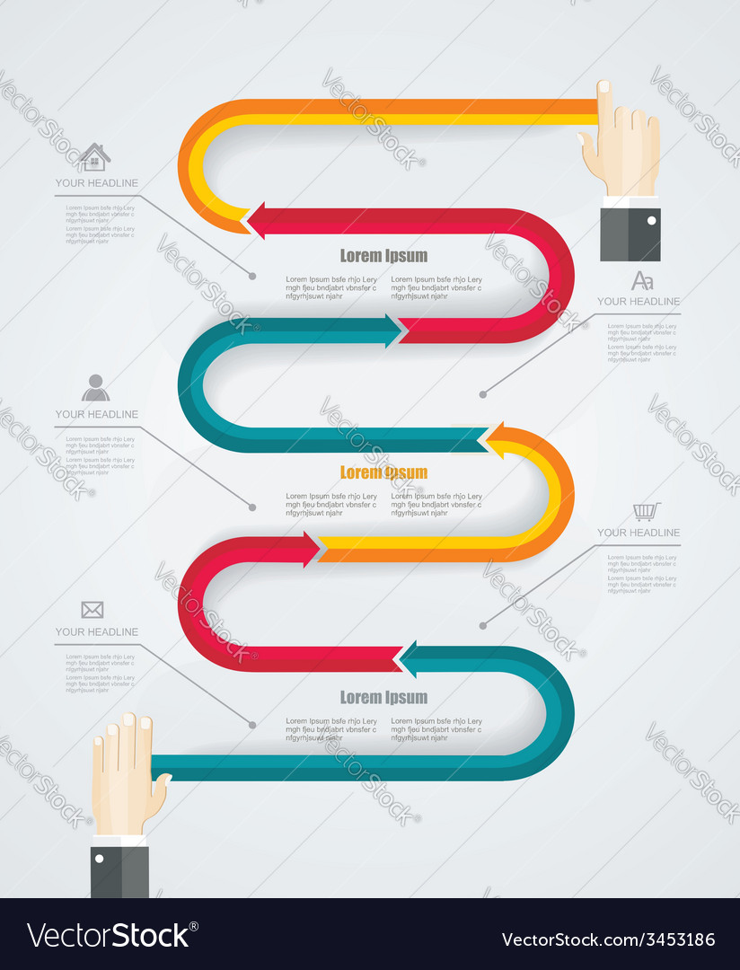 Infographic with human hands- concept desig vector | Price: 1 Credit (USD $1)
