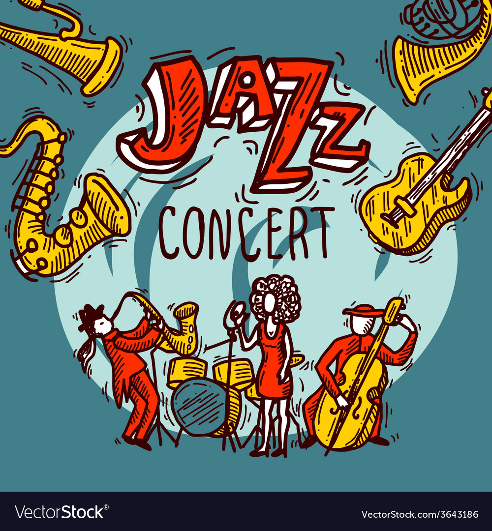 Jazz sketch poster vector | Price: 1 Credit (USD $1)
