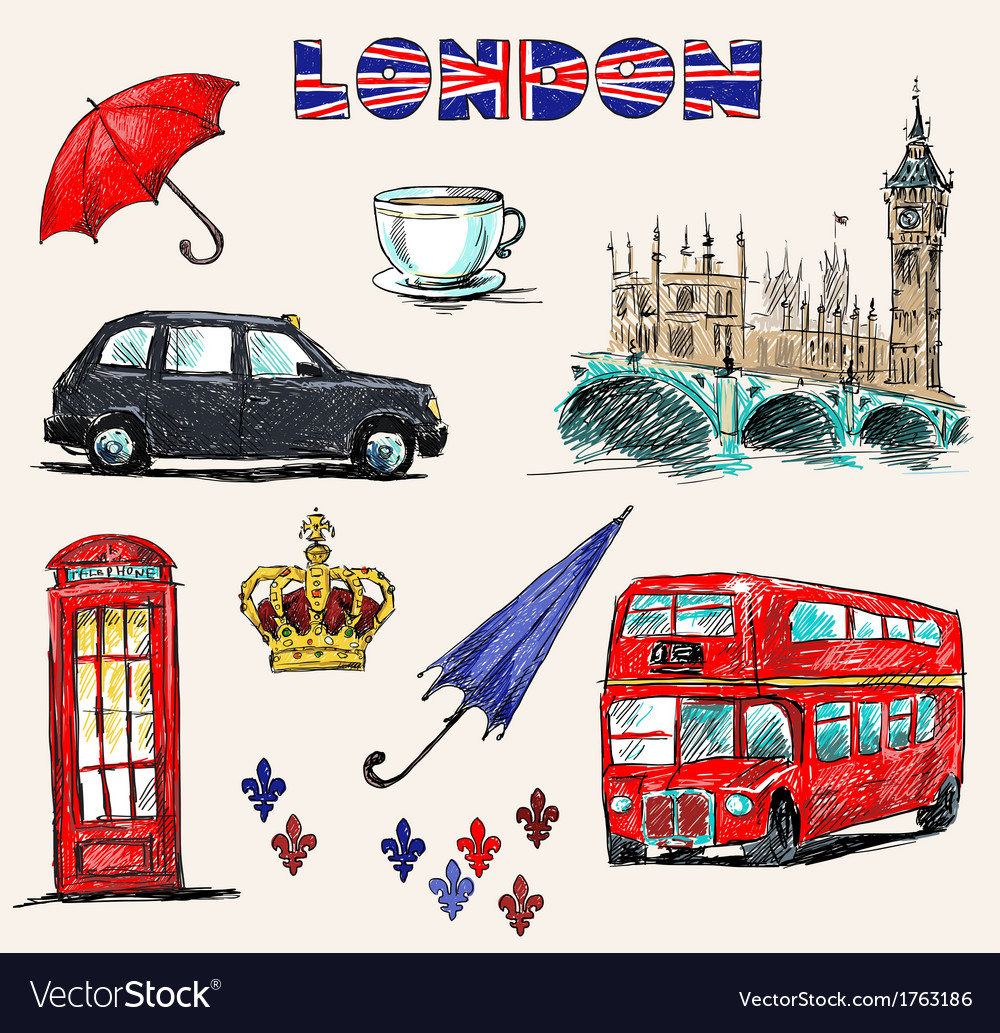 London symbols set of drawings vector | Price: 1 Credit (USD $1)