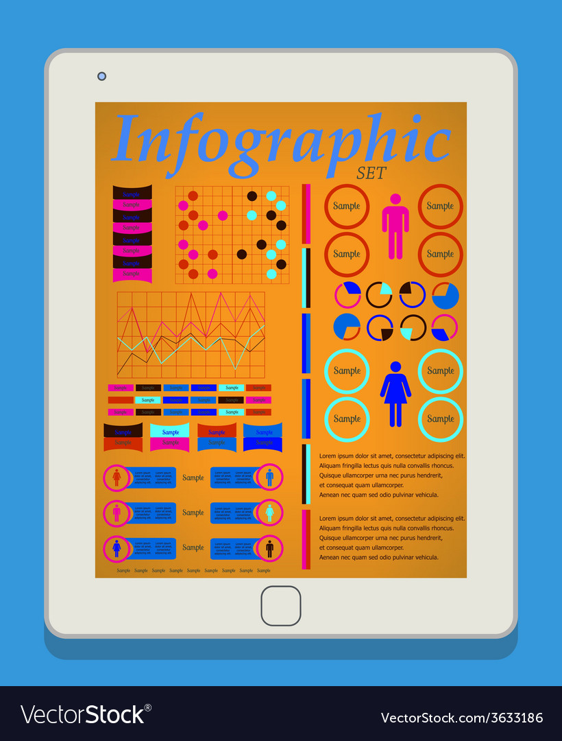 Male and female infographic set on tablet pc it vector   Price: 1 Credit (USD $1)