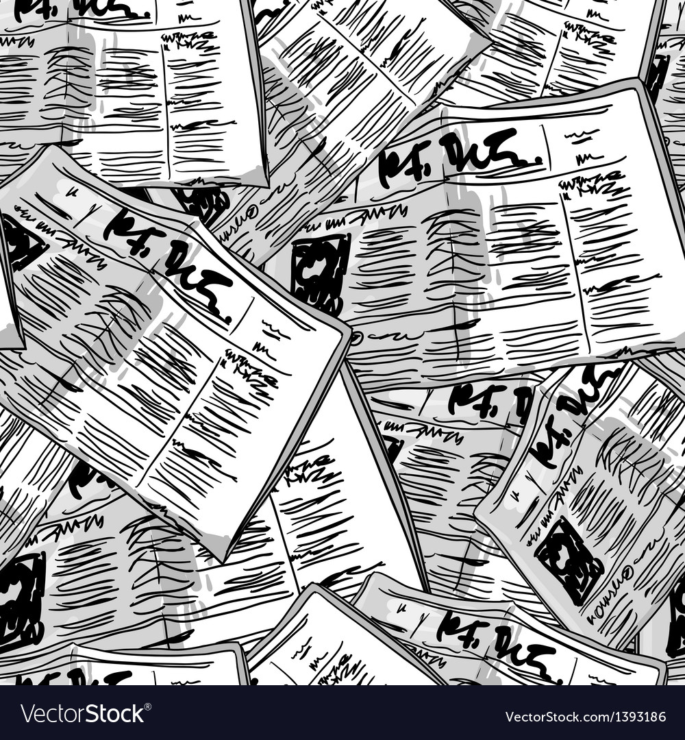 Newspaper monochrome vintage seamless background vector | Price: 1 Credit (USD $1)
