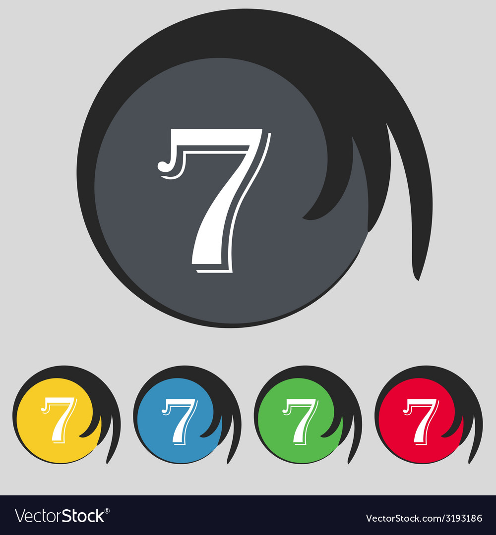 Number seven icon sign set of coloured buttons vector   Price: 1 Credit (USD $1)