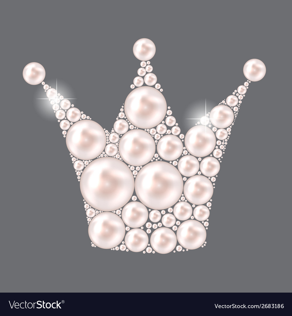 Princess crown pearl background vector | Price: 1 Credit (USD $1)