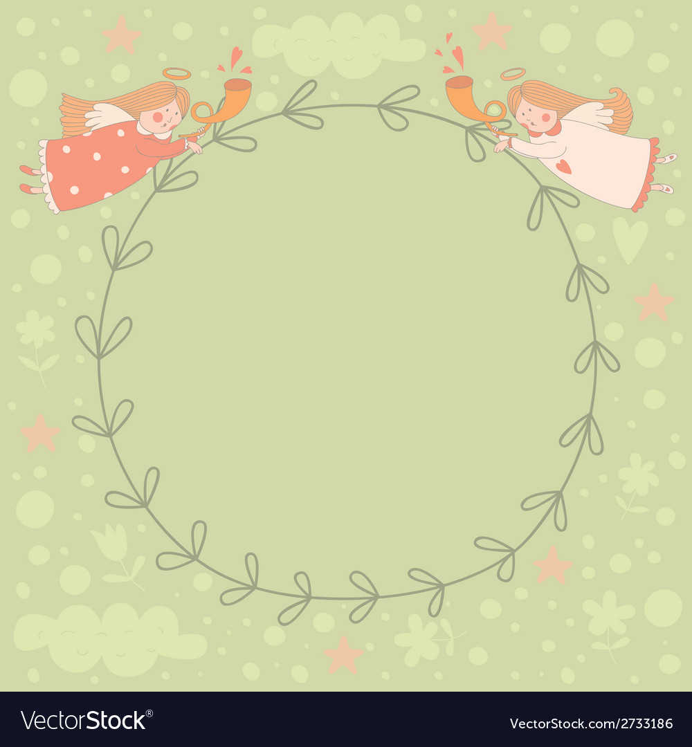 Wreath with two angels vector | Price: 1 Credit (USD $1)