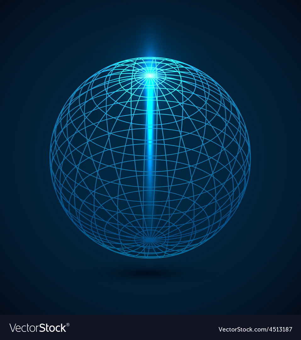 Abstract blue outline globe sphere background vector | Price: 1 Credit (USD $1)