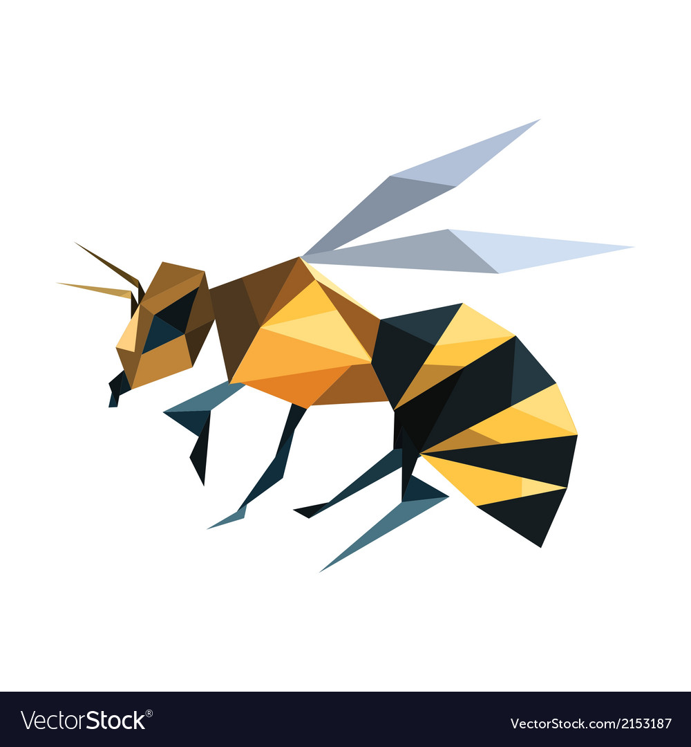 Bee origami vector | Price: 1 Credit (USD $1)