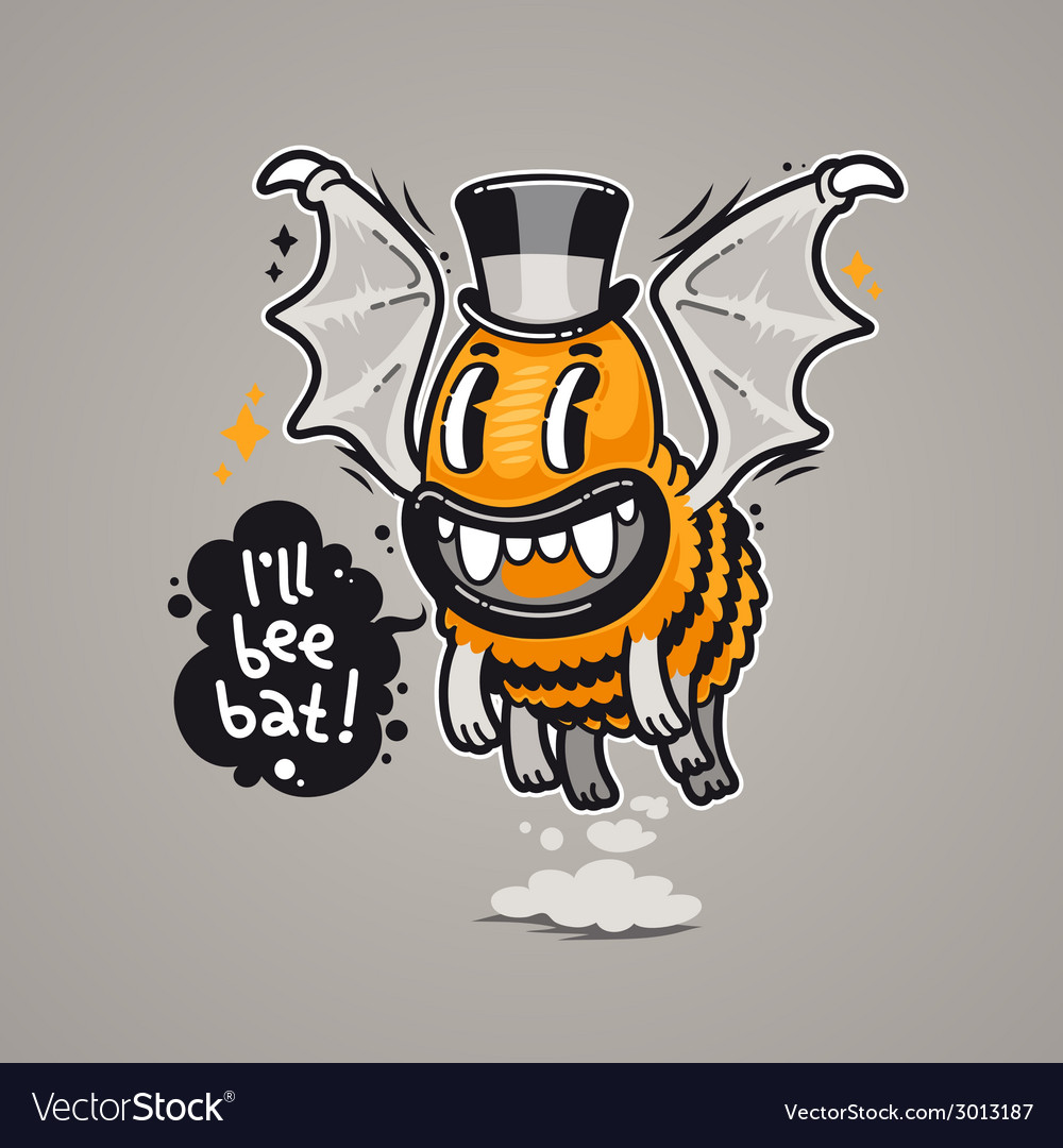Cartoon monster ill bee bat vector | Price: 1 Credit (USD $1)