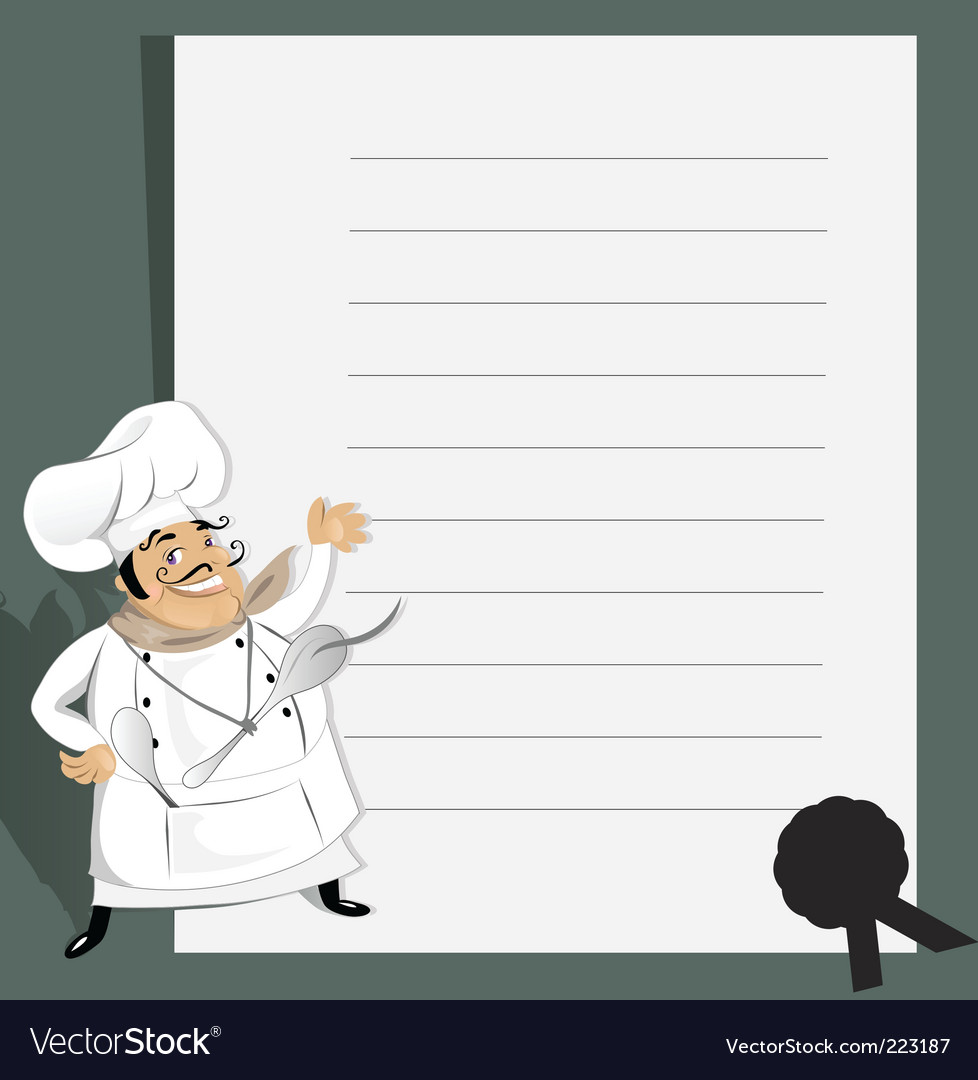 Chef with menu and recipe vector | Price: 1 Credit (USD $1)