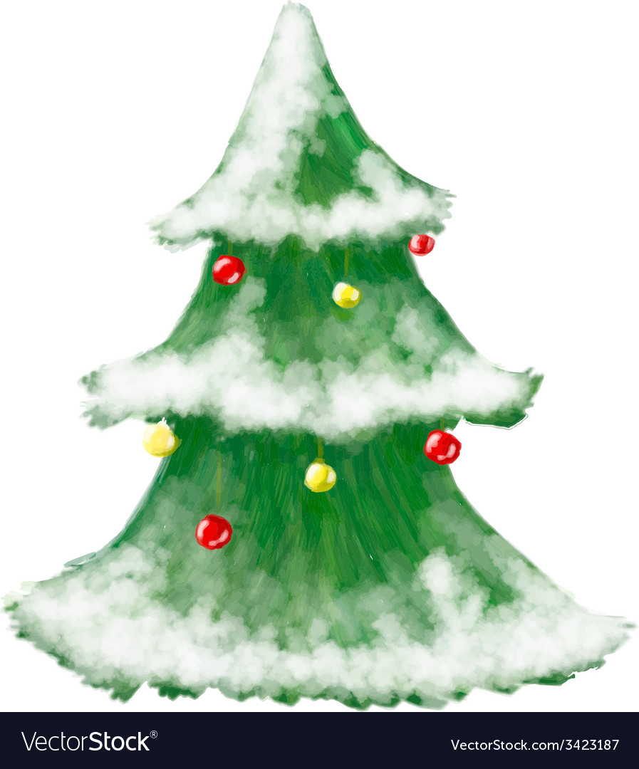 Christmas tree greeting card hand drawn and shiny vector | Price: 1 Credit (USD $1)