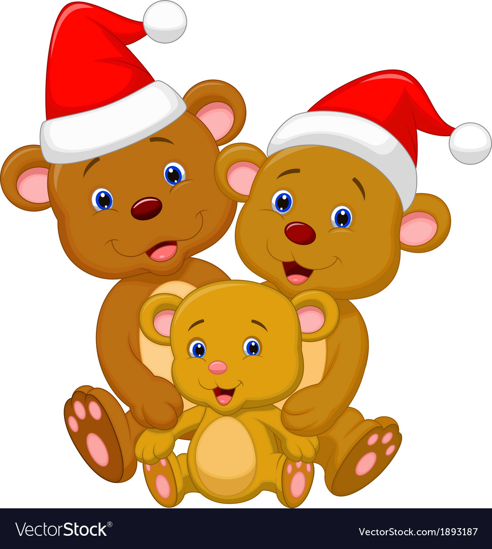Cute bear family cartoon wearing red hat vector | Price: 1 Credit (USD $1)