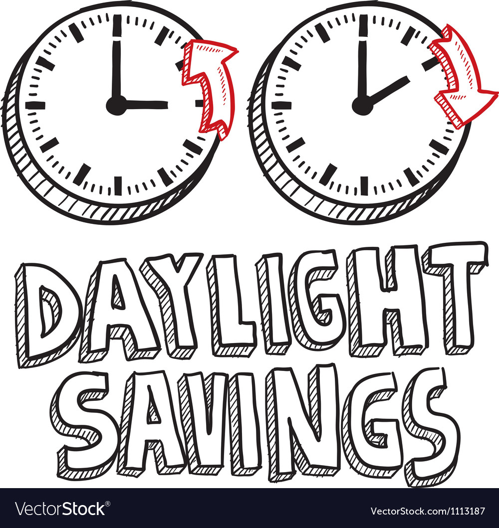 Doodle holiday daylight savings vector | Price: 1 Credit (USD $1)