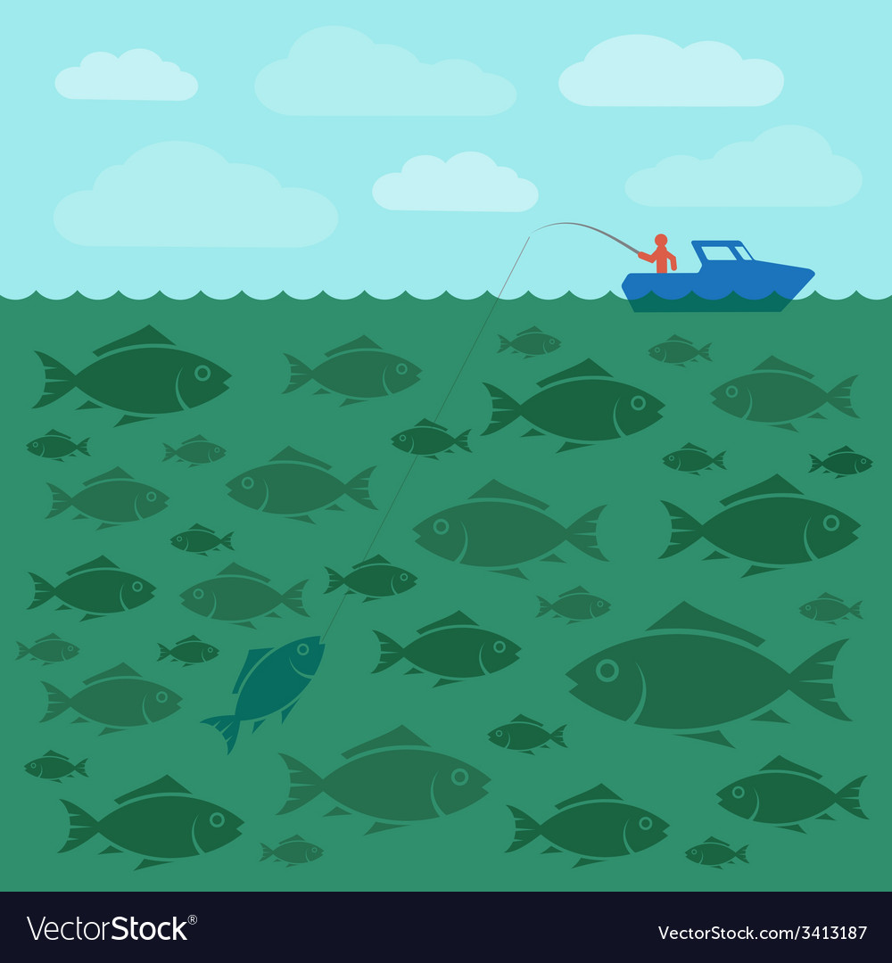Fishing on the boat vector | Price: 1 Credit (USD $1)