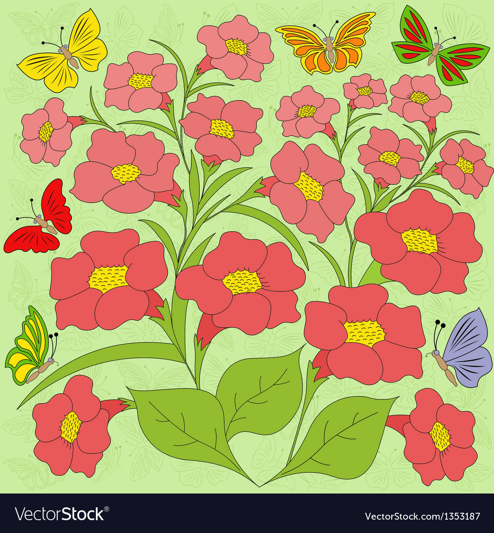 Flowers and butterflies color background vector | Price: 1 Credit (USD $1)
