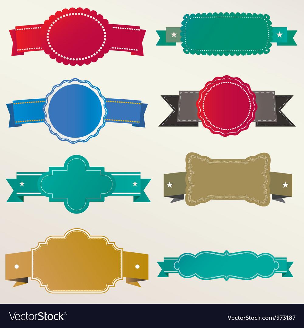 Frame labels ribbon set vintage vector | Price: 1 Credit (USD $1)
