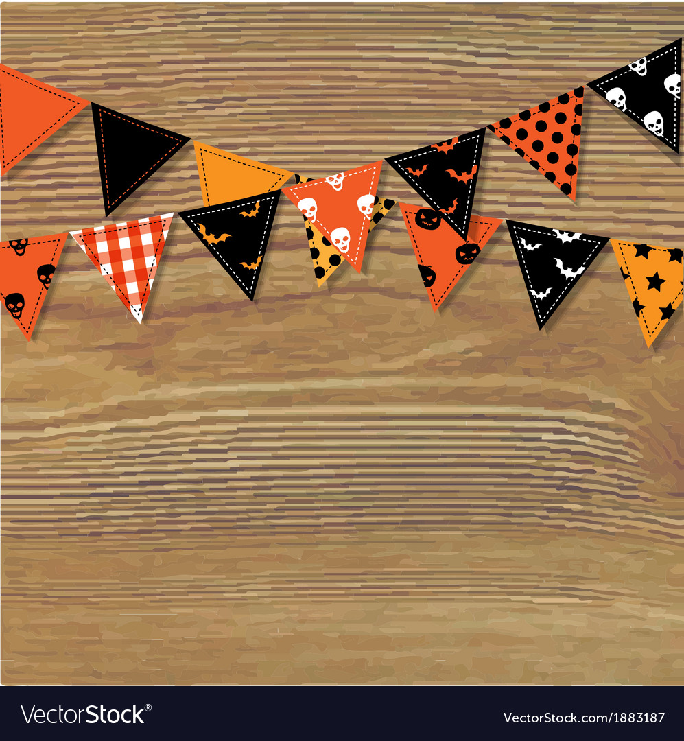 Halloween bunting flags with wood background vector | Price: 1 Credit (USD $1)