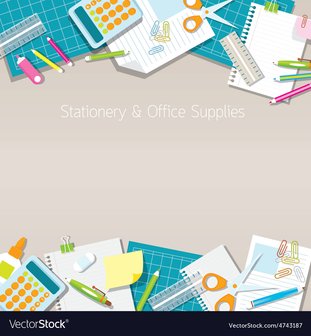 Office supplies and stationery paper background vector | Price: 3 Credit (USD $3)