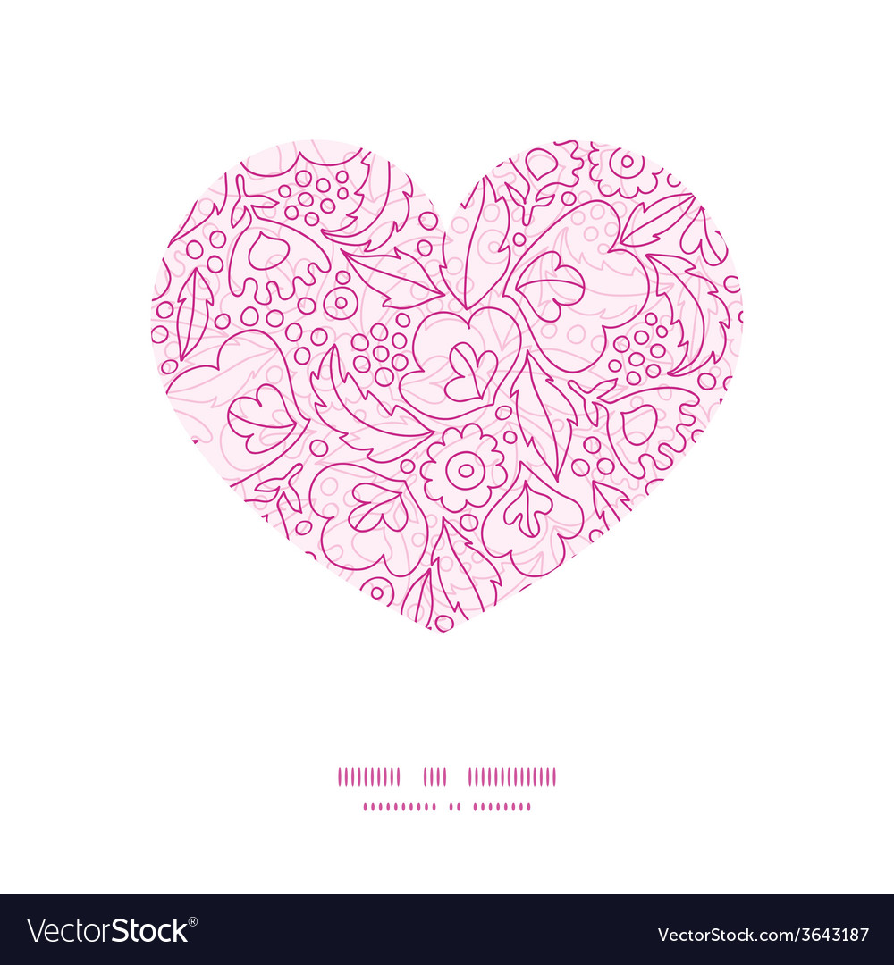 Pink flowers lineart heart silhouette pattern vector | Price: 1 Credit (USD $1)