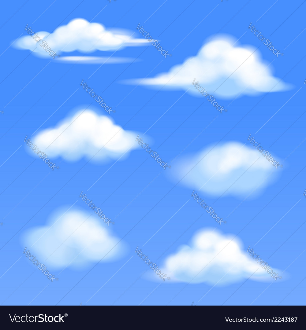 Set of isolated clouds vector | Price: 1 Credit (USD $1)