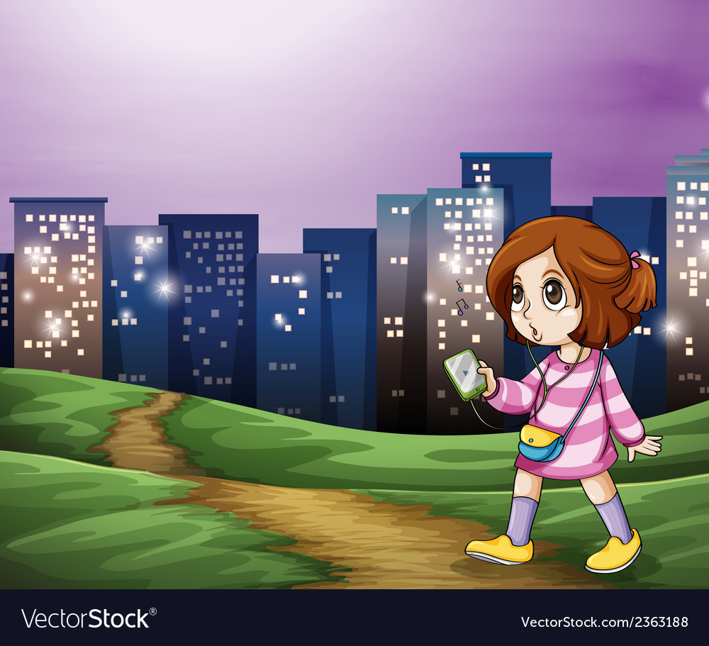 A young girl walking across the tall buildings vector | Price: 3 Credit (USD $3)