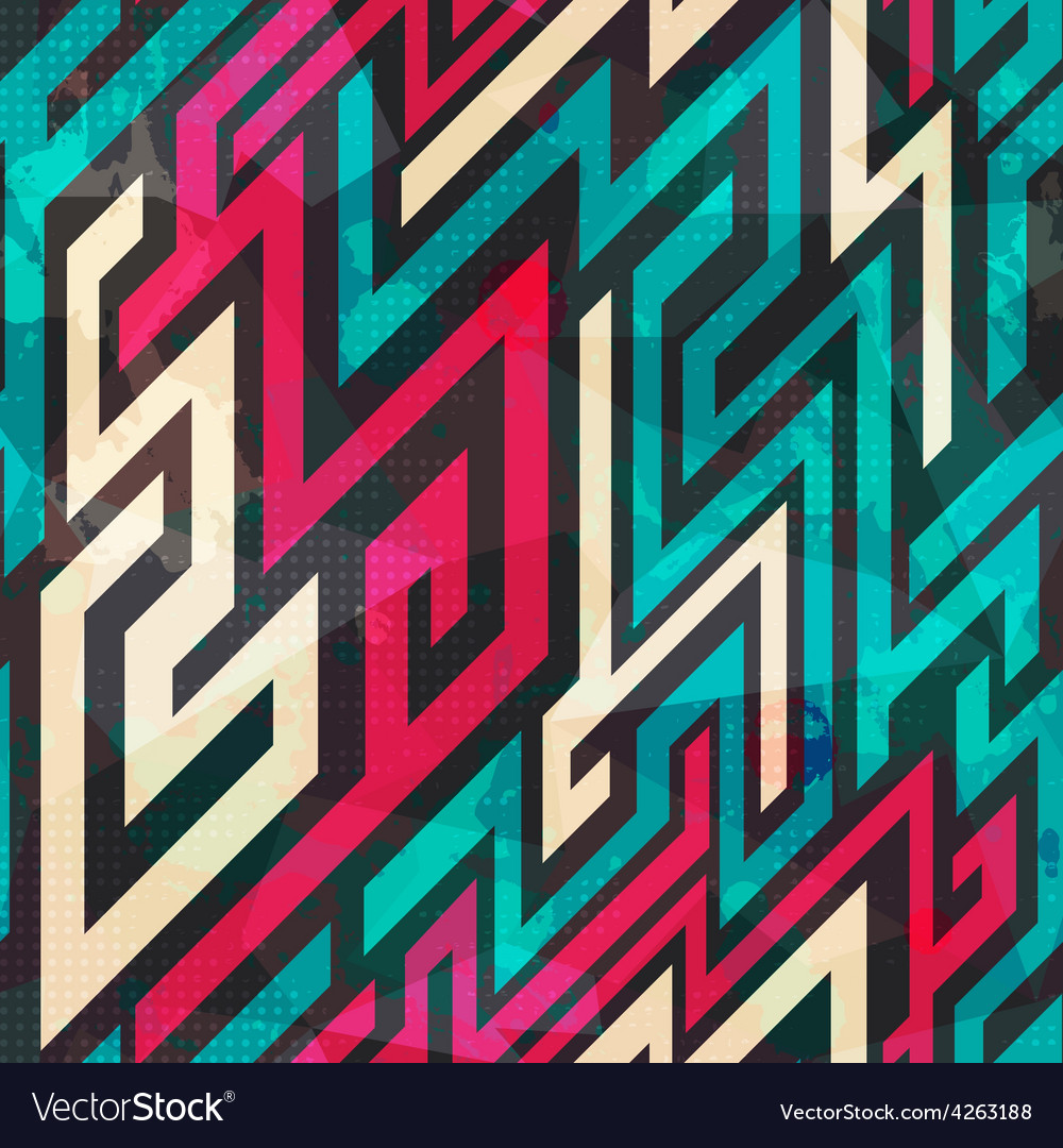 Colorful maze seamless pattern with grunge effect vector | Price: 1 Credit (USD $1)