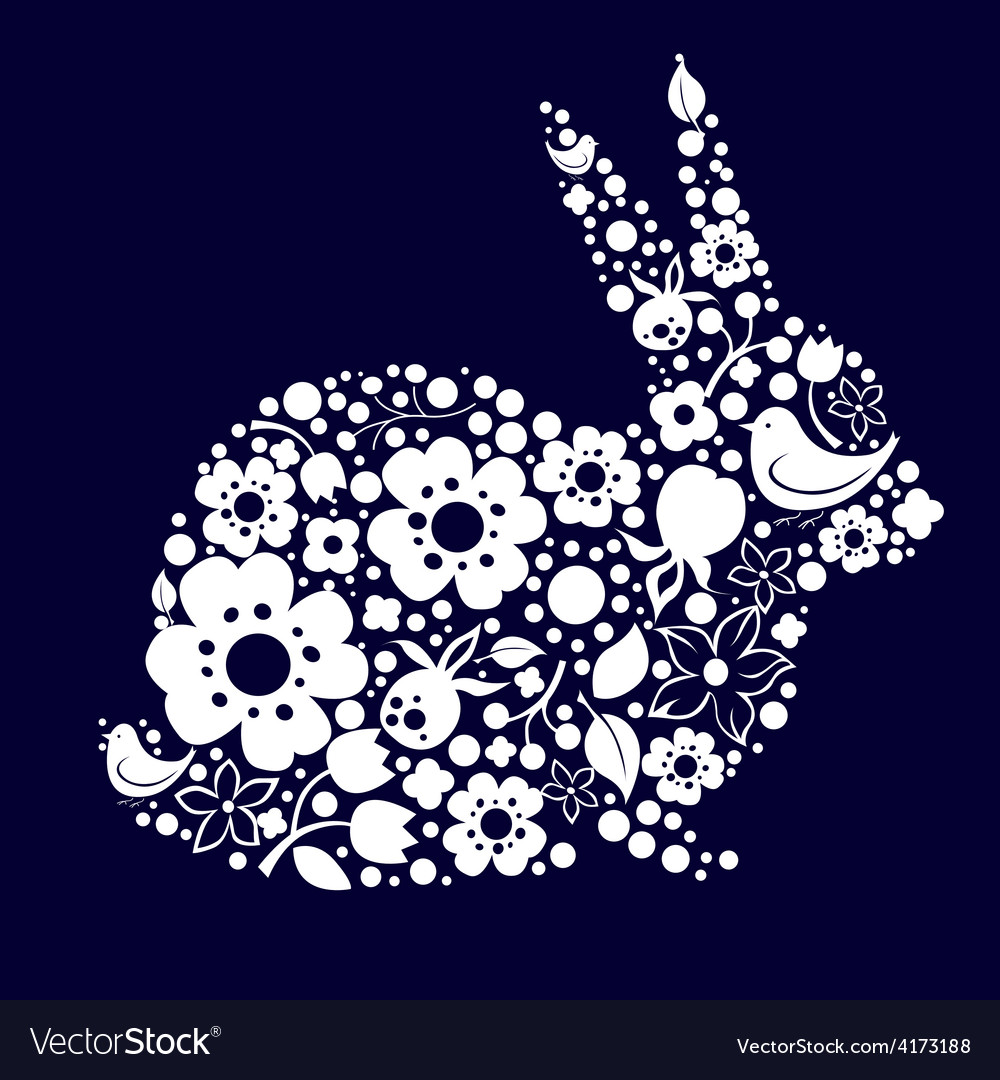 Easter design with bunny from floral lace vector | Price: 3 Credit (USD $3)