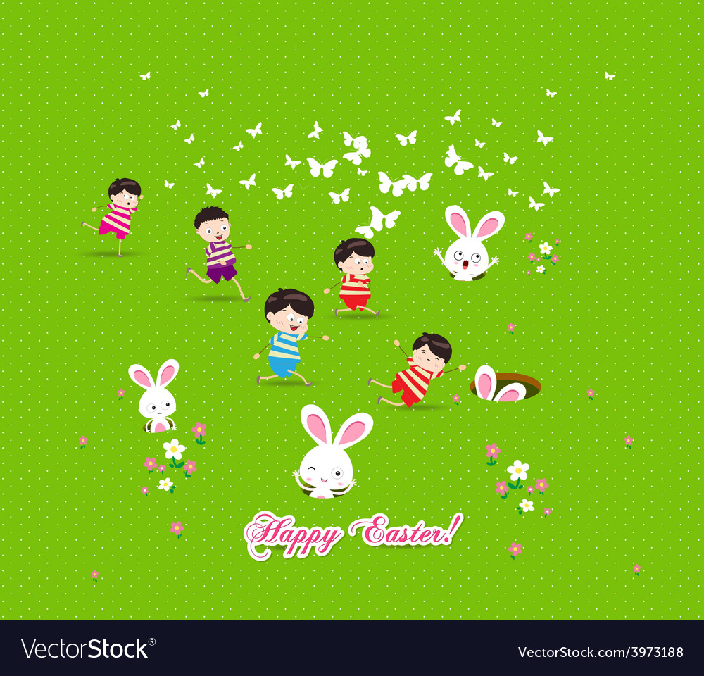 Happy easter kids bunny eggs grass vector | Price: 1 Credit (USD $1)