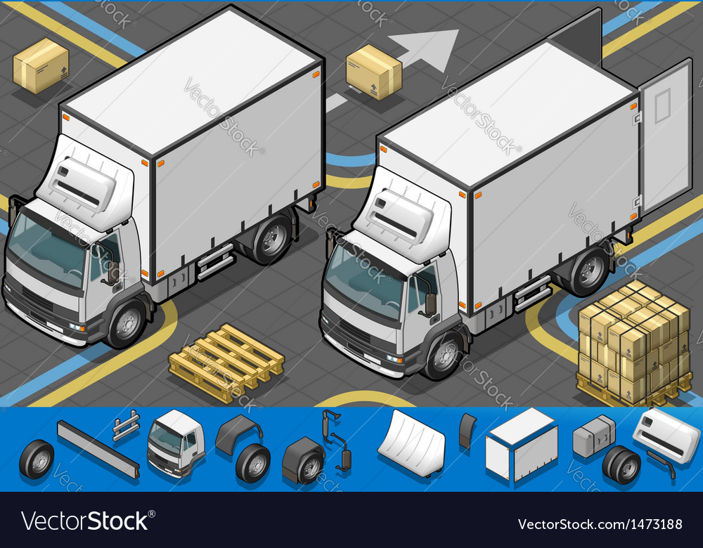 Isometric container refrigerator truck in front vector | Price: 1 Credit (USD $1)