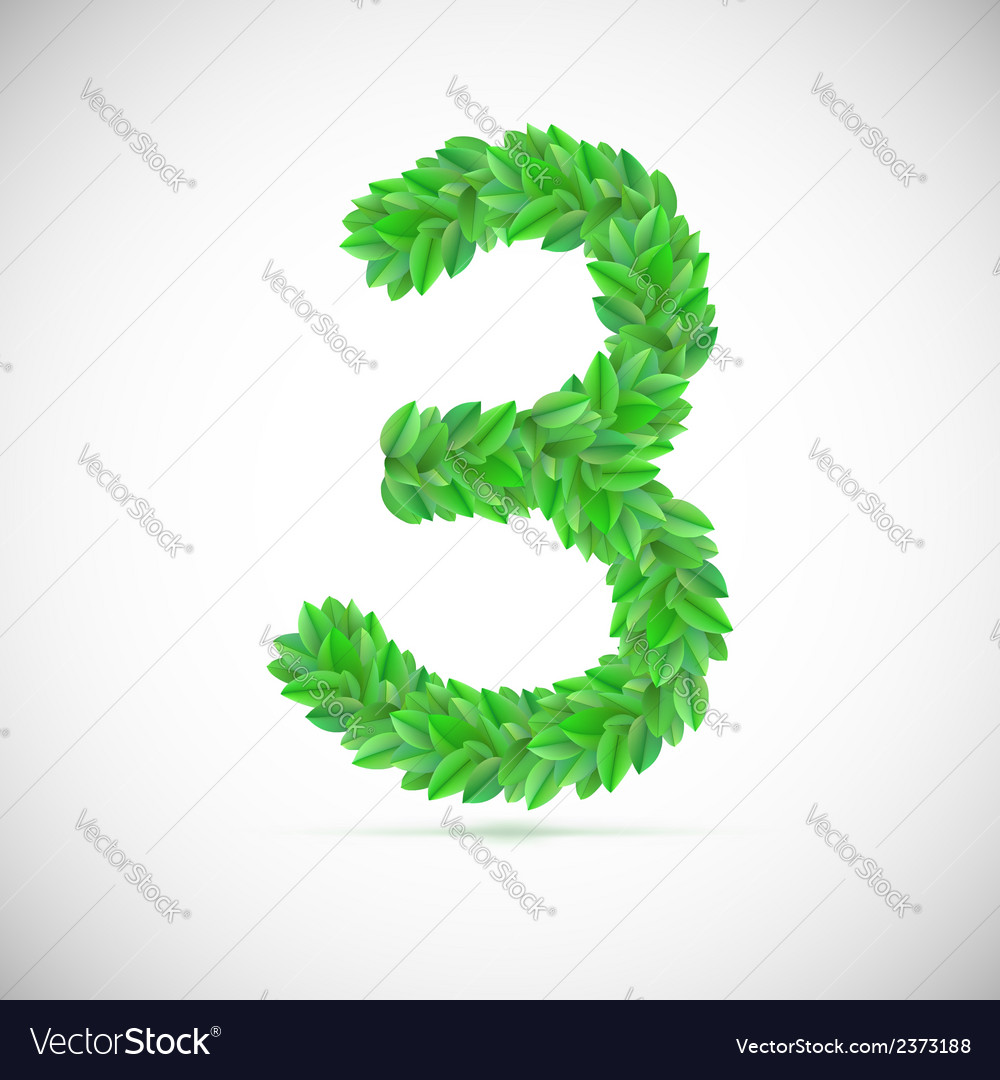 Number three made up of green leaves vector | Price: 1 Credit (USD $1)