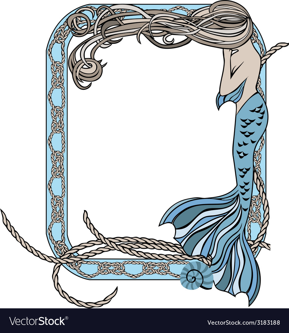 Sea frame with mermaid and knots vector | Price: 1 Credit (USD $1)