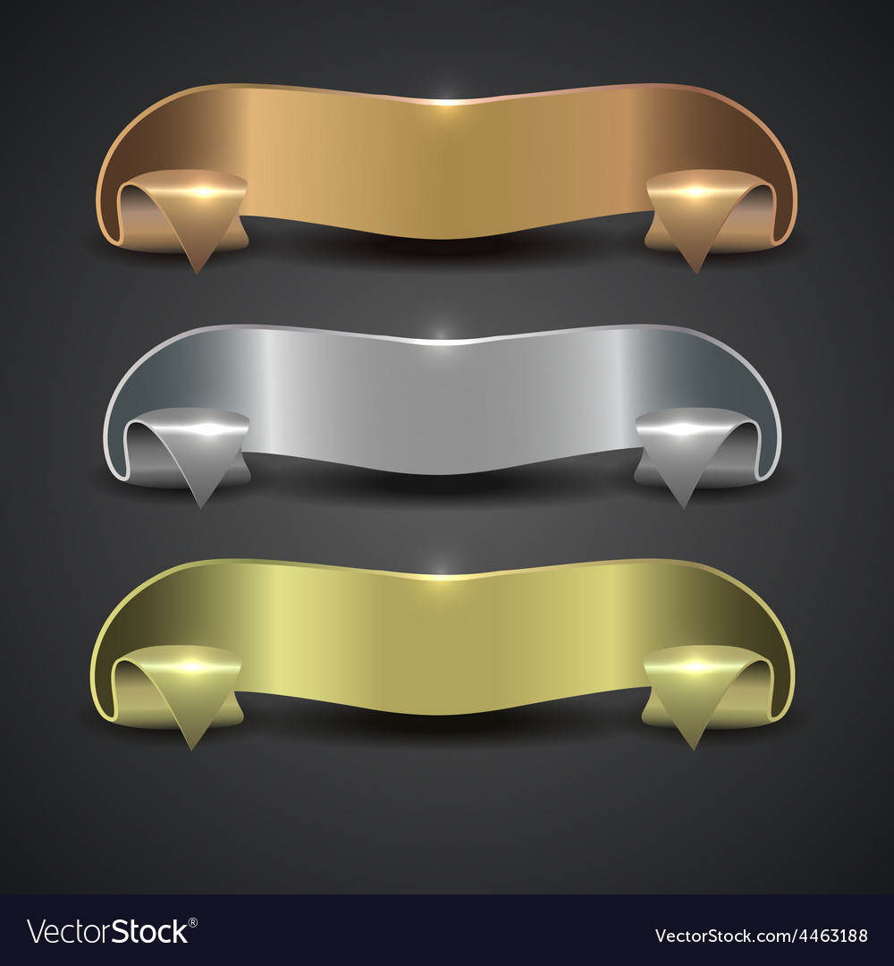 Set of metal banners in the form of a tape vector | Price: 1 Credit (USD $1)